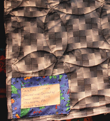 quilt back with label
